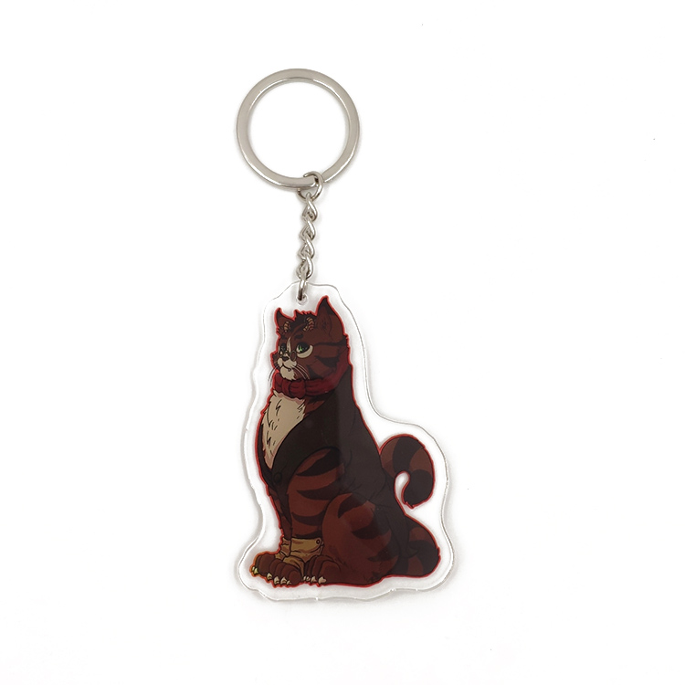 Custom Anime Clear Plastic Animal Print Acrylic Charms Keychain