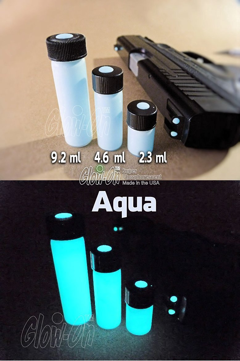 GLOW-ON Aqua, Super Phosphorescent Gun Night Sights Paint. Economy size 9.2 Ml Vial. White 'Day' Color/Aqua Glow.Gold standard of glow paints. Super bright long lasting glow.
