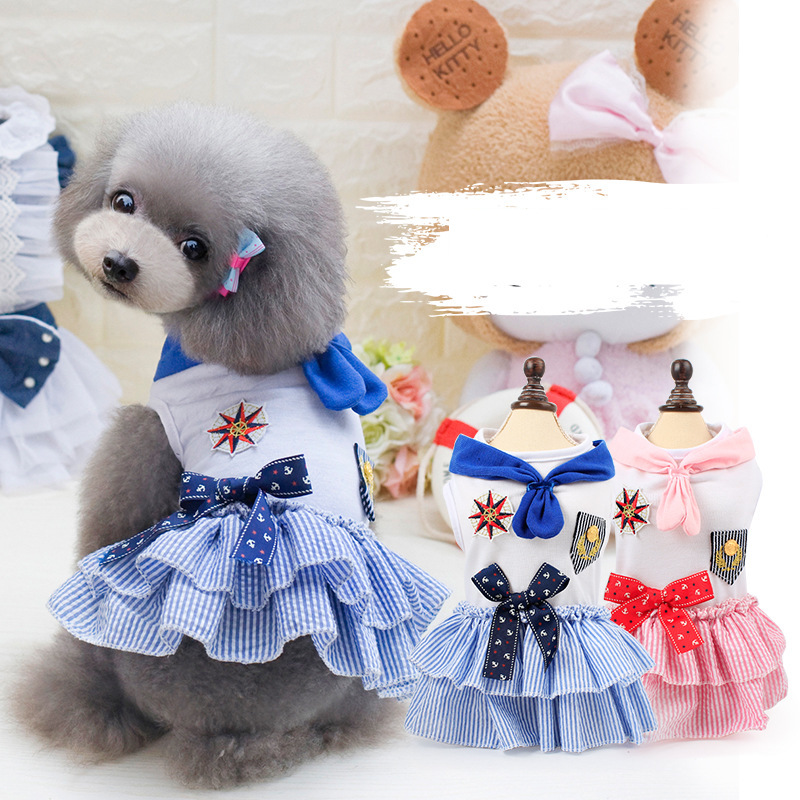 Style marin mignon animal de compagnie adorable princesse robe printemps été xs xl coton old navy chien vêtements robe