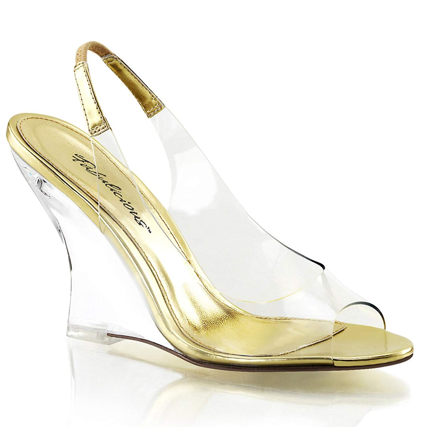 63a17e0365a Get Quotations · Summitfashions Womens Clear and Gold Slingback Sandals  Shoes with 4 Inch Clear Wedge Heels