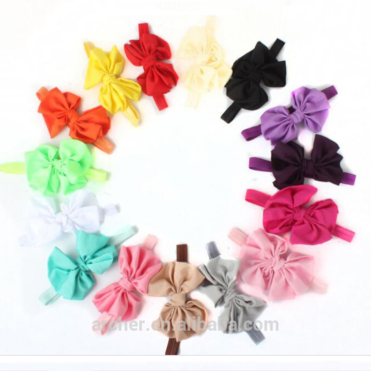 Newborn Baby Girl Headbands 2017 Rabbit Bow Satin Ribbon Photography Props Infant Flower Headband Hair head band HA-1087