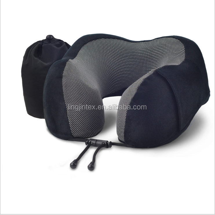 Custom logo design solid u shape travel pillow memory foam neck pillow