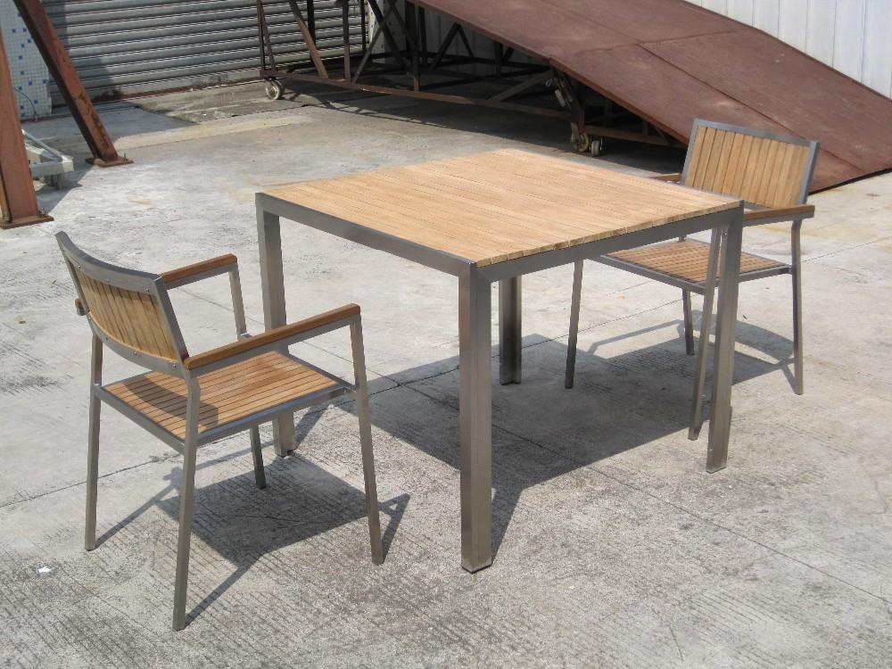 Mesa de acero inoxidable conjunto con madera de teca - Muebles de teca ...