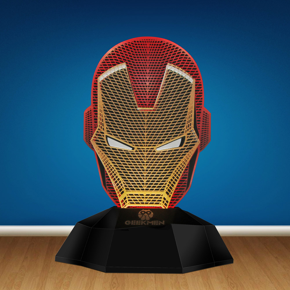 Decorative Led Lights 3D Line Lamp Iron Man Led Night Light 3D Illusion Lamp Tony Stark Helmet Head Baby Moon Night Lamp