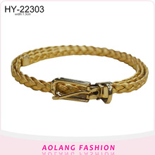 Fashion girls skinny gold color pu braided belt with glitter
