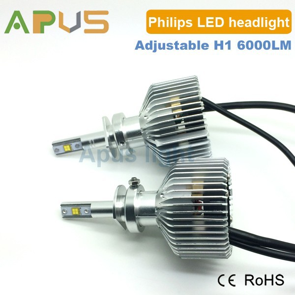 Focal length adjustable H1 LED headlight kit with philips 6000LM