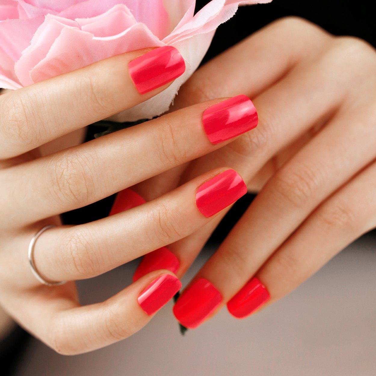 Buy Art Plus 24pcs Rose Red False Nails Set French Manicure Full ...