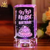 Exquisite Best Cake Design 3D Laser Crystal Birthday Gift For Girlfriend Souvenirs
