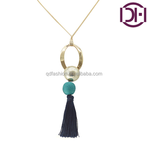 latetest cheap light gold chain with gold bead ball polyester tassel pendant necklace