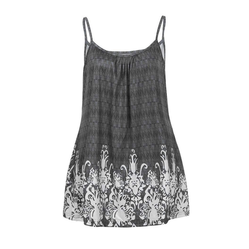 Daoroka Women Tank Tops Women Tank Tops Clearance!Daoroka Sexy Summer Plus Size Casual Loose Wrinkled Floral Sleeveless Vest Cami T Shirts Blouse
