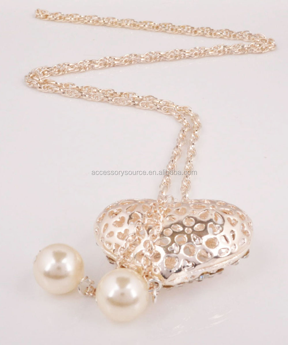 2016 zinc alloy Fashion Alloy Heart Necklace long chain with pearl for autumn