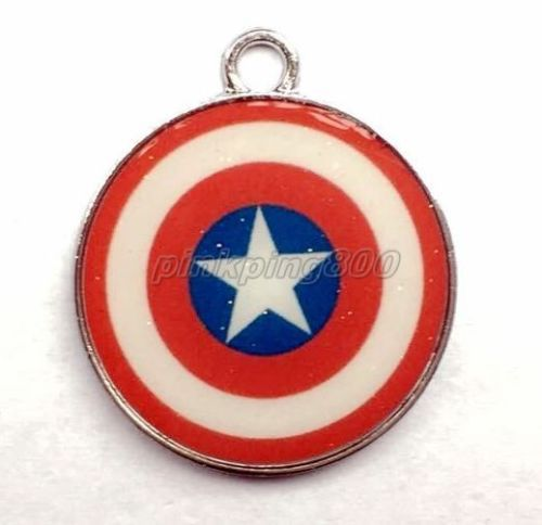New 20 Pcs Captain America Round Metal Charms Pendants Jewelry Making Party Gifts L163