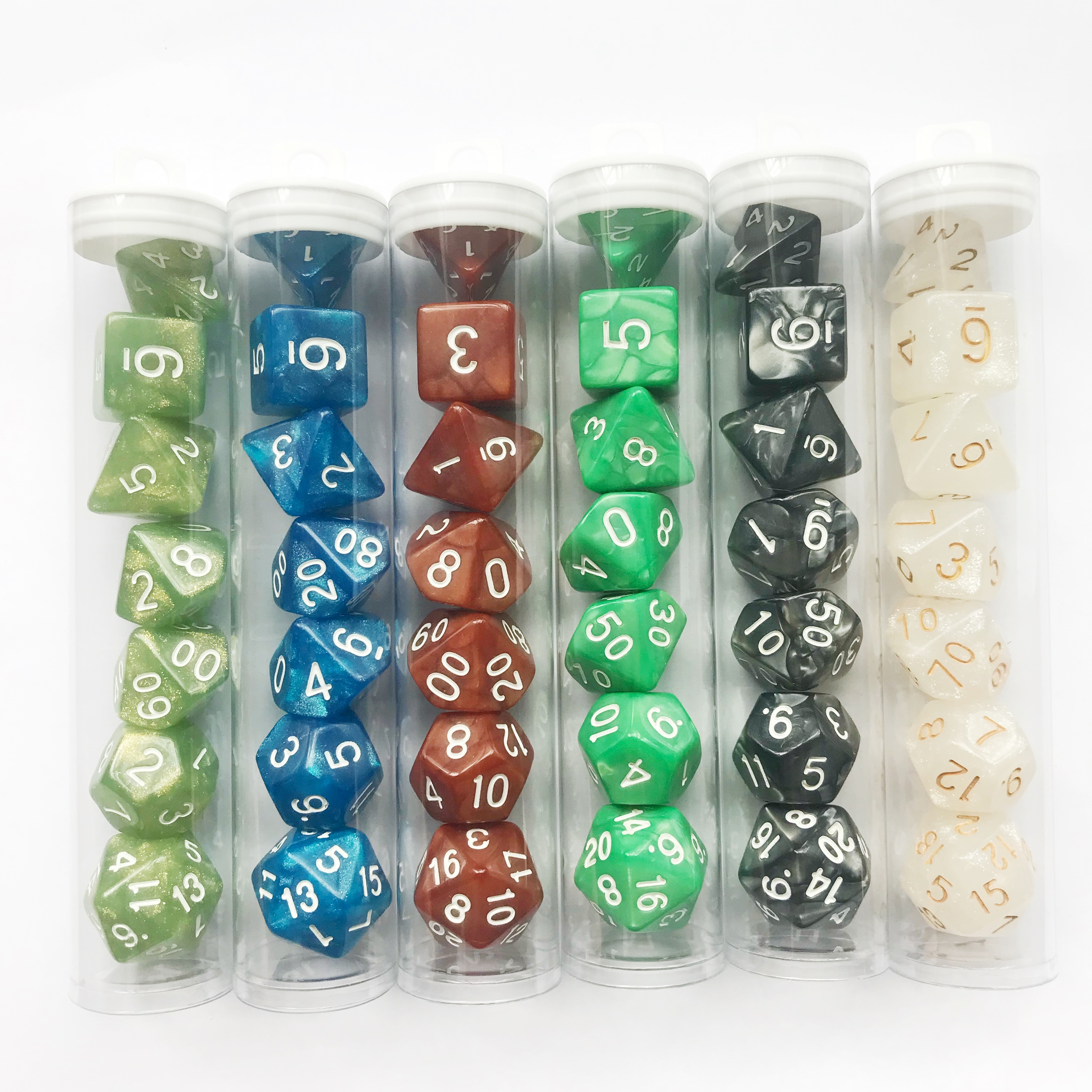 7 pcs/set Desk Polyhedral Custom Dices 4/6/8/10/12/20 Pear Dice DND Acrylic Plastic in Tube Packaging Multi Sides Gaming, Color