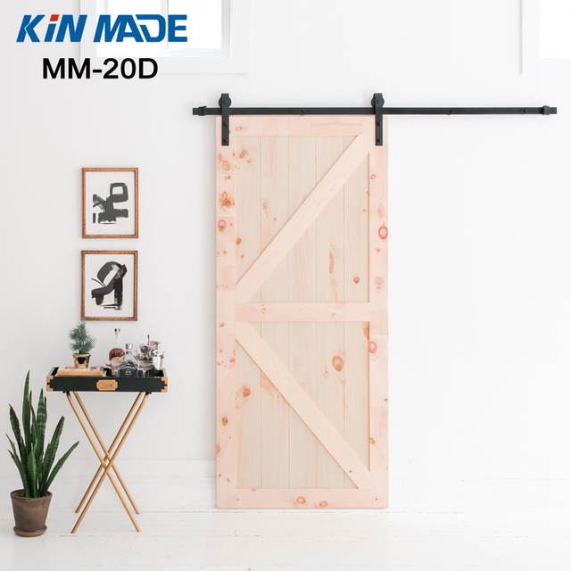 Kinmade Black Antique Steel Sliding Barn Door Hardware Rustic Wood Door  System