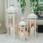 White garden decoration wedding candle moroccan lantern set of 3 metal lantern