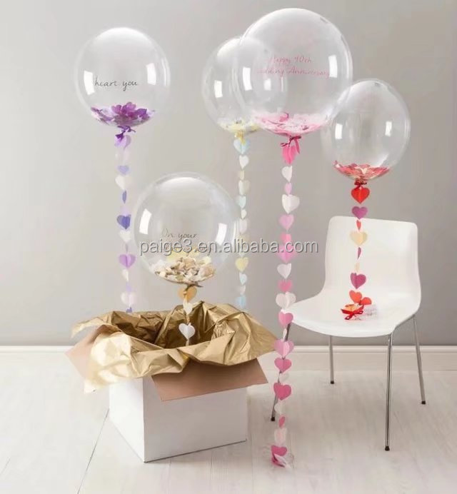 10/18/24/36 inch No Winkle Transparent Bubble PVC Balloons Birthday Wedding Party transparent Helium Globos Decor Supplies ball
