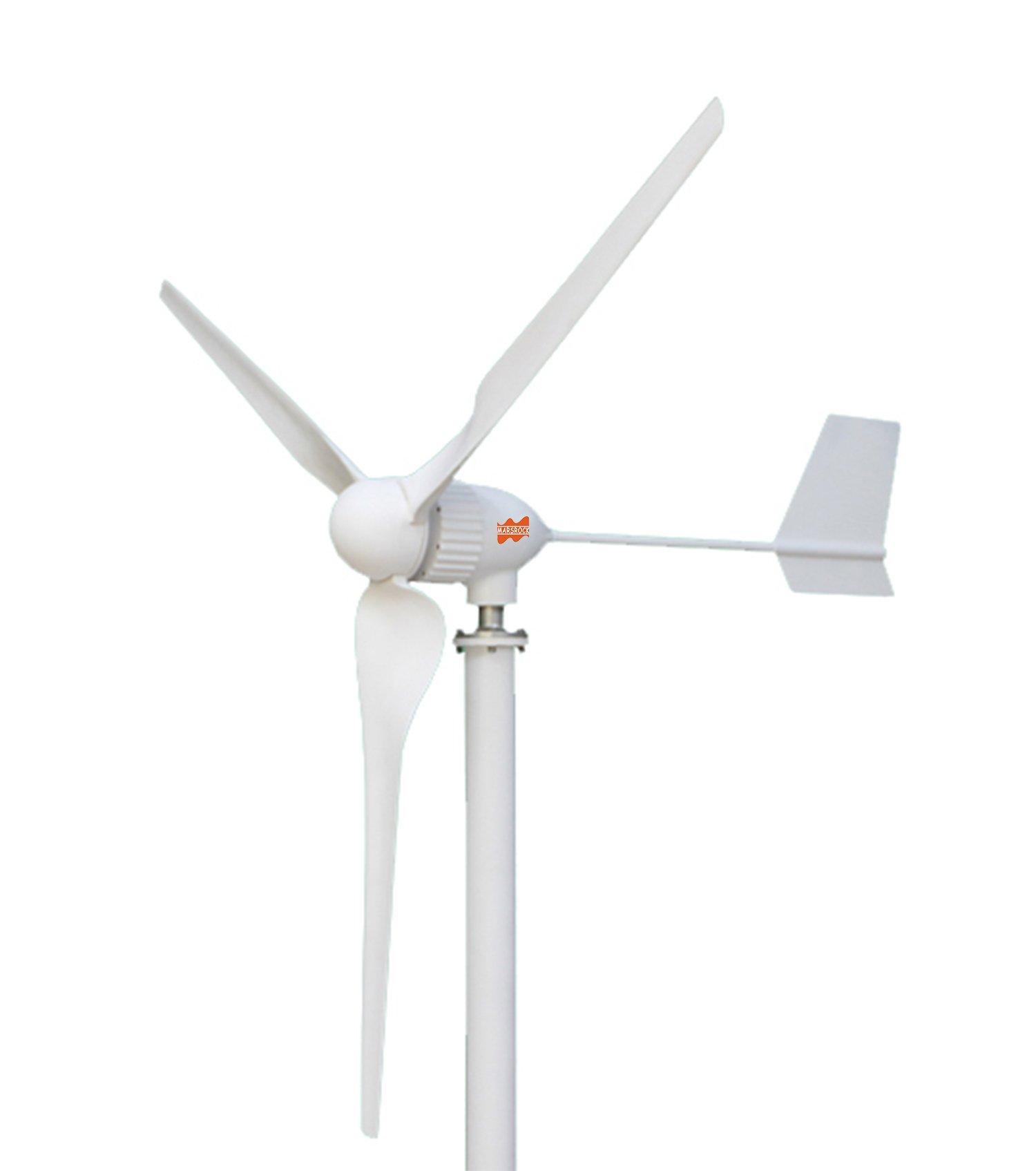 MarsRock Waterproof Wind Turbine with Controller 2.5m/s Start-up Wind Speed Three Phase Wind Turbine Generator with 800Watt/1000Watt 24V/48V 3 Blades Windmill (800W 48V )