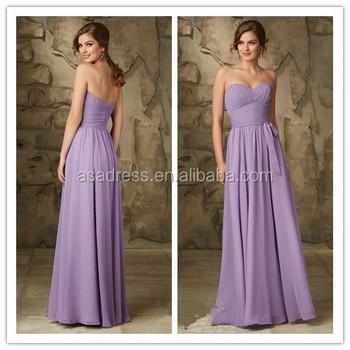 94be48500a Últimos diseños de vestir para dama muestra real Lila gasa larga dama de honor  vestido pattens