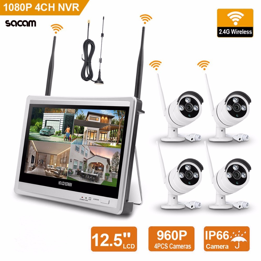 "Wireless Home Camera Video Surveillance System 4CH NVR Kit 1080 P Sistema di Sicurezza CCTV 12.5 ""Monitor 4 pz Esterna WiFi IP Cam"