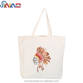 Standard Size Cotton Tote Bag With Custom Logo Printed  Side and Bottom