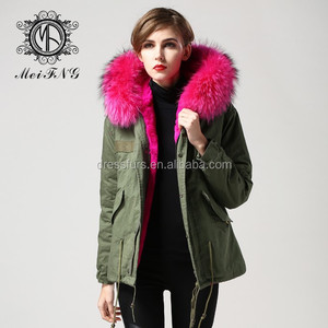 Woman Fur Coats Real Natural Fur Hooded Faux Fur Lining Coat Wholesale Parka Coat