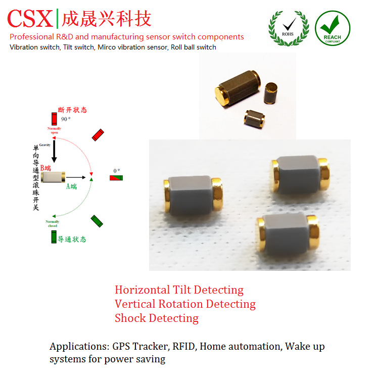 SMD gold metal tilt sensor switch CSX-SEN-645A with stable function for watch, smart electronic products
