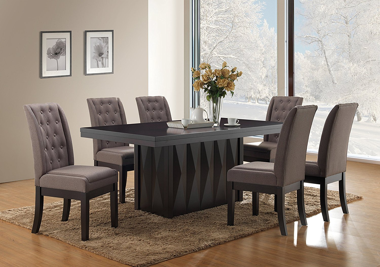 Buy Kings Brand Furniture 7 Piece Rectangular Dinette Dining Room Set Table Amp 6 Chairs Gray In
