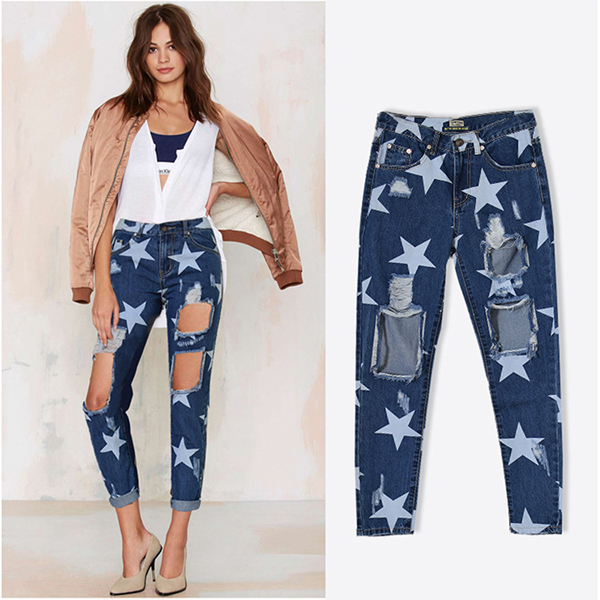 42080e149c1 2016 Autumn Fashion Women Broken Holes Denim Jean Ladies Ankle Length Stars  Printed Baggy Latest Design