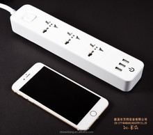 7673U 3ways extension socket power strip 2USB electric