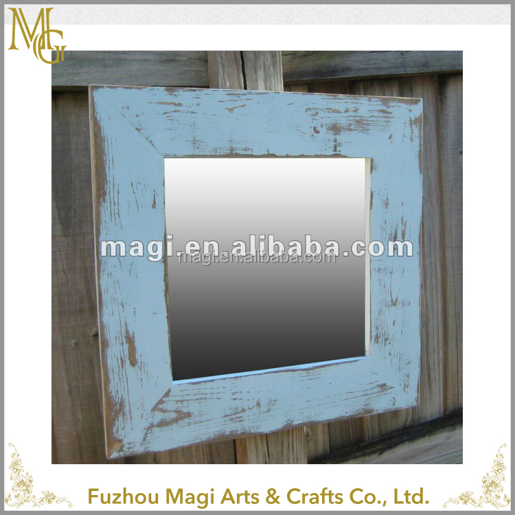 wholesale rustic framed old wooden mirror design