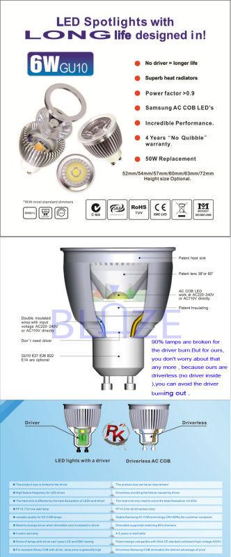 2017 Prpmotion Energy Saving 6w Gu10 Ac Cob Led Spotlight Dimmable ...