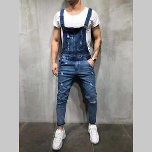 Fashion Men's Ripped Jeans Jumpsuits Hi Street Distressed Denim Bib Overalls For Man Suspender Pants Size S-Xxxl Y11267