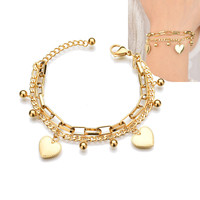 Stainless Steel Gold Plated Adjustable Dangle Charm Bracelet Double Layer Chain Gold Heart Charm Bracelet