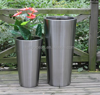 Fo 9001tall Tapered Stainless Steel Garden Planter Pot