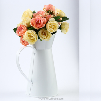French Style White Shabby Chic Mini Metal Pitcher Flower Vase