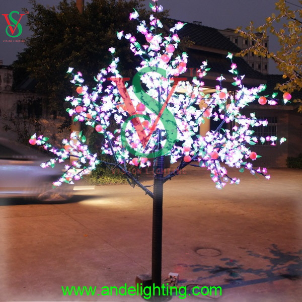 2016 new tall outdoor garden artificial tree led light with lighted fruit