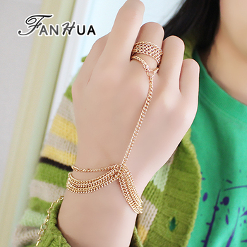 Latest Design Simple Gold Plated Chains Bracelet Connectedd Ring