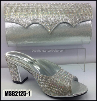 Silver Hot Italian Matching Shoe And Bag Sets With Rhinestone For Women Fashion African