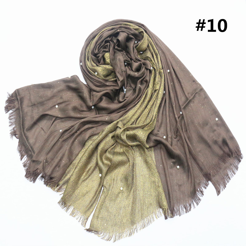 HOT Sale Soft Viscose Scarf Women Hijab Pearl White Bead Shawls Wraps with Half of Silver Four Season Headscarf Shawl