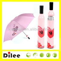 rain polyester fabric with logo printing promotional wine bottle umbrella