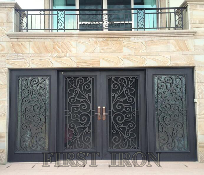 Noble Wrought Iron Front Door With Sidelights   Buy Wrought Iron Exterior Door  With Sidelight,Wrought Iron French Doors,Wrought Iron Double Entry Doors ...