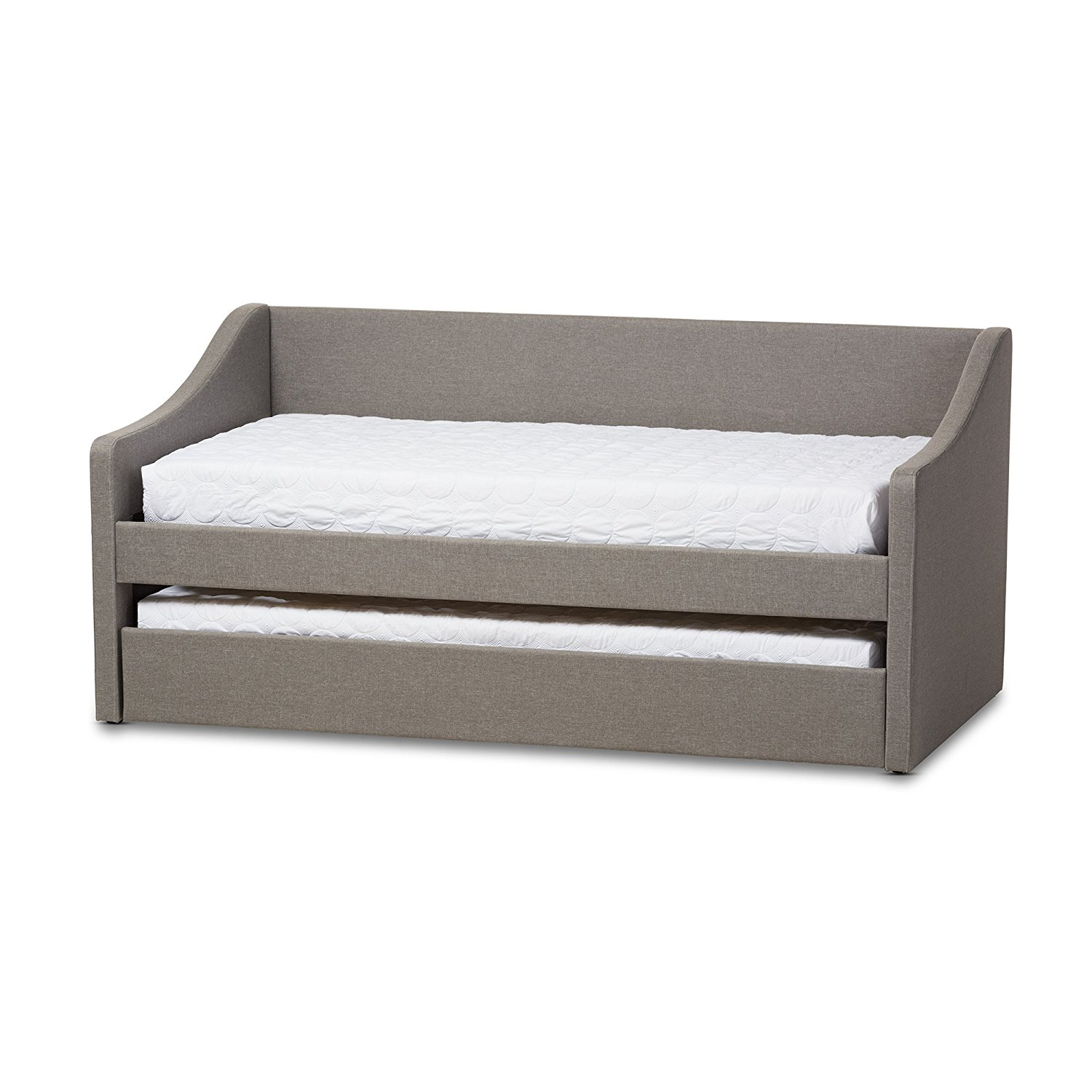 Baxton Studio Cera Fabric Upholstered Daybed with Guest Trundle Bed, Twin, Grey