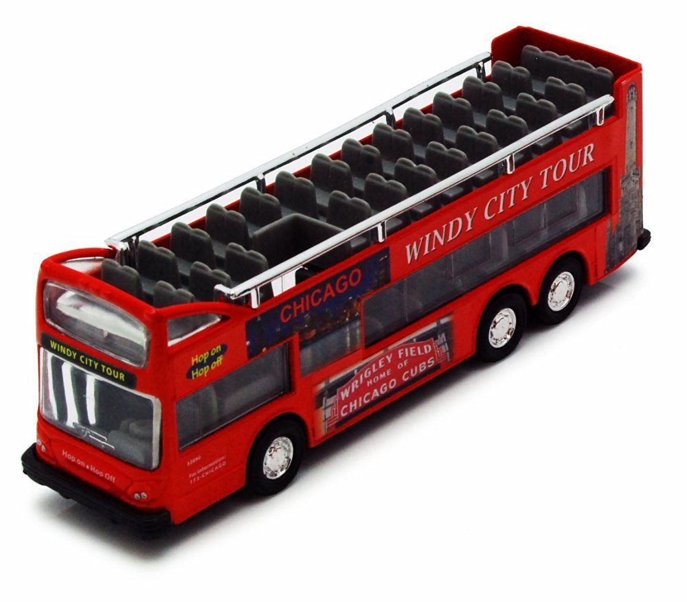 Chicago Sightseeing Double Decker Bus Open Top, Red - Showcasts 2168CG - 6 Inch Scale Diecast Model Replica