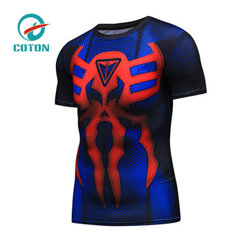 498de080 Polyester Spandex Short Sleeves Compression Shirt Superman Custom  Sublimated Rash Guard