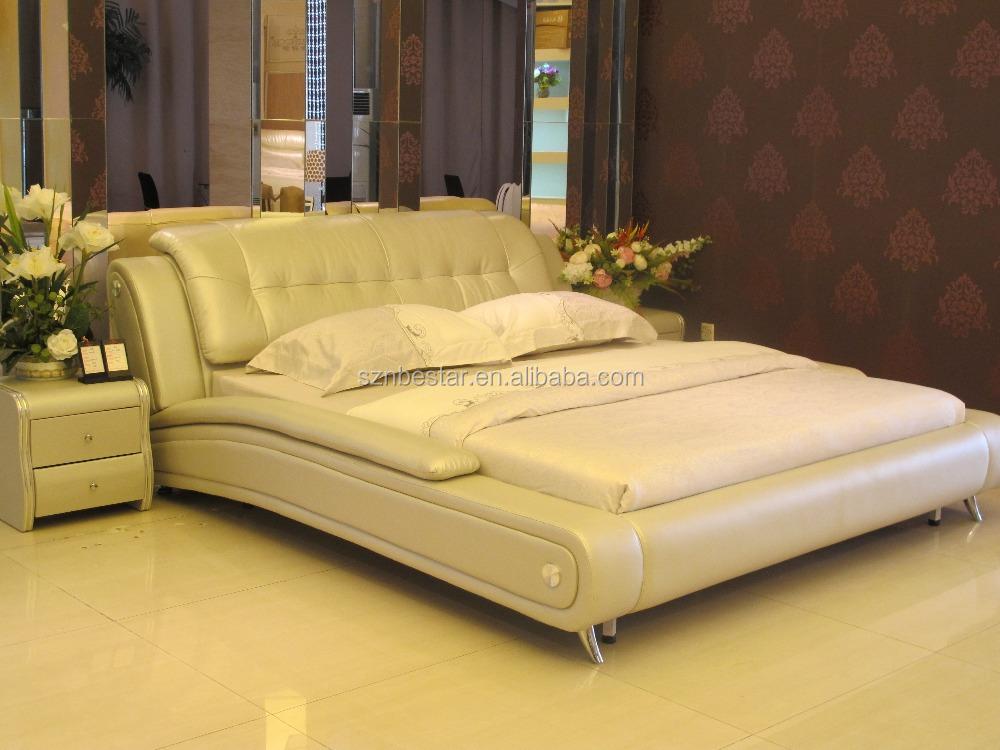 King Size Trineo Forma Dormitorio Cama Suave Muebles para El Hogar