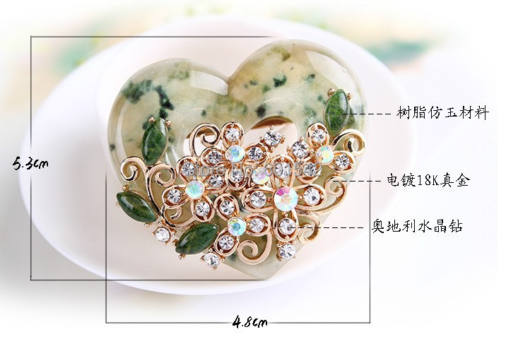 (10 pieces/lot)Mix-wholesale 2014 Newest Europe style heart-shaped women's Crystal Brooch, hijab pins NO.6