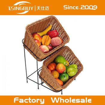 Weaved Supermarket Pp Rattan Fruit Baskets Vegetable Display Stand Basket