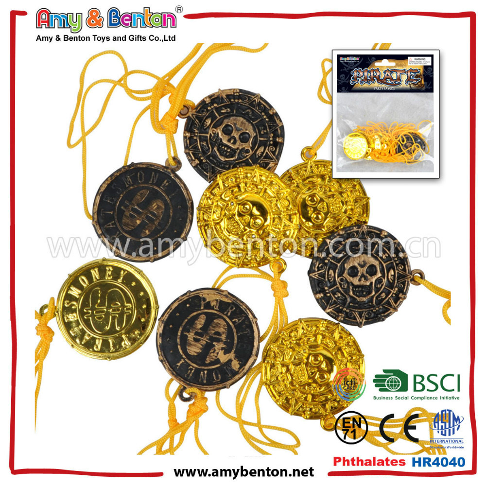 Party Accessory Play Money Pirate Treasure Shiny Plastic Coins, Casino Chip In Different Sizes And Designs For Pretend Play