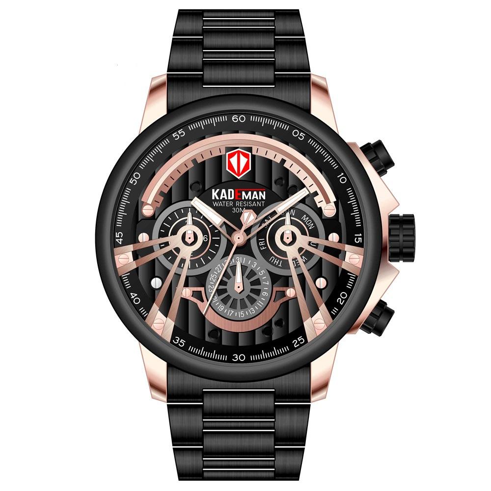 KADEMAN Fashion Sport Watch Men Quartz Digital Mens Watches Top Brand Luxury Waterproof Army Military 2019 Full Steel Wristwatch, 6 colors