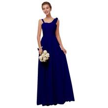 Королевские синие шифоные платья для подружек невесты Длинные женские платья-трапеция большого размера на свадебные вечеринки и выпускной...(Китай)